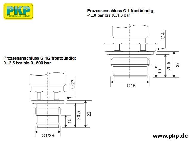 PSA21 Elektronischer Drucksensor, Abmessungen Anschluss