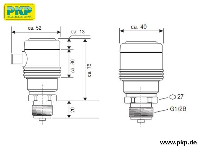 PSA20 Elektronischer Drucksensor, ohne Anzeige, Abmessungen