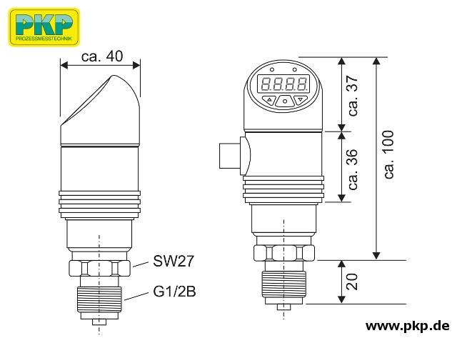 PSA20 Elektronischer Drucksensor, mit Anzeige, Abmessungen