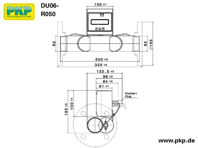 DU06 Ultraschall Durchflussmesser, Edelstahl, Abmessungen, R 2 AG