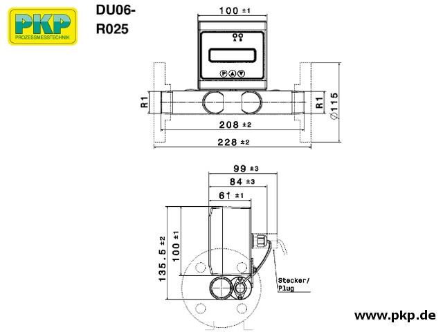 DU06 Ultraschall Durchflussmesser, Edelstahl, Abmessungen, R 1 AG