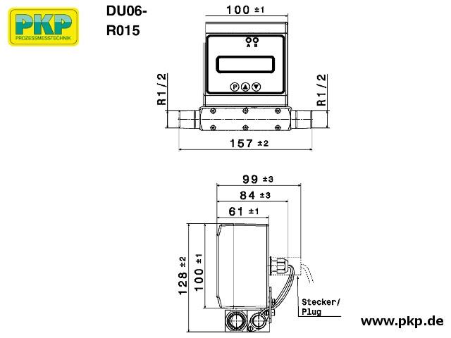 DU06 Ultraschall Durchflussmesser, Abmessungen, R 1/2 AG