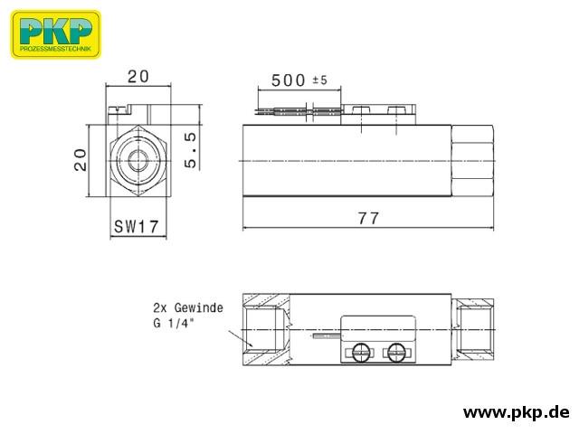 DS51 Kolben-Strömungswächter, Innengewinde beidseitig, Abmessungen