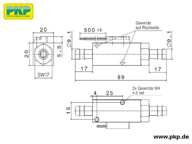DS51 Kolben-Strömungswächter, Schlauchtülle beidseitig, Abmessungen
