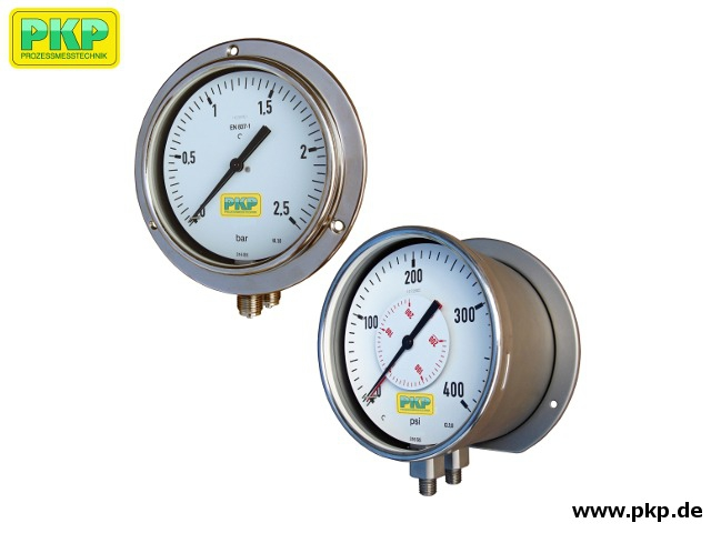PDR02 Dual Bourdon tube pressure gauge for relative or differential pressure