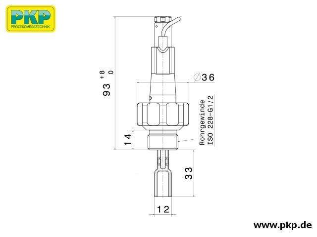 DP03 Paddel- Strömungswächter, Abmessungen, Einschraubgewinde