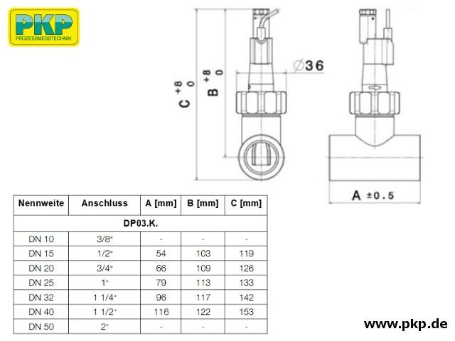 DP03 Paddel- Strömungswächter, Klebemuffe, Abmessungen