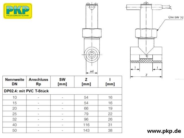 DP02 T-Stück, PVC Ausführung