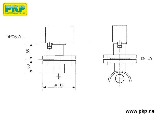 DP05 Prallscheiben-Durchflusswächter, Aufsatzflansch, Abmessungen
