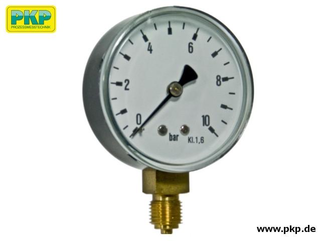 PMR02 Rohrfedermanometer - Mini, Anschluss aus Messing