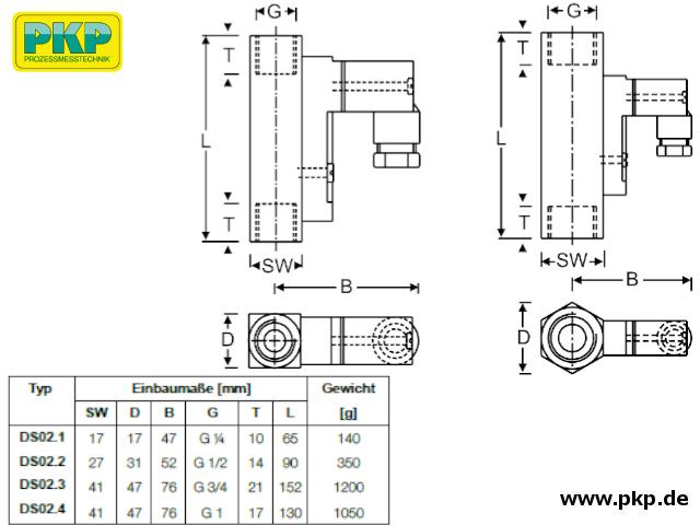 DS02 Schwebekörper-Durchflussmesser, Maßzeichnung