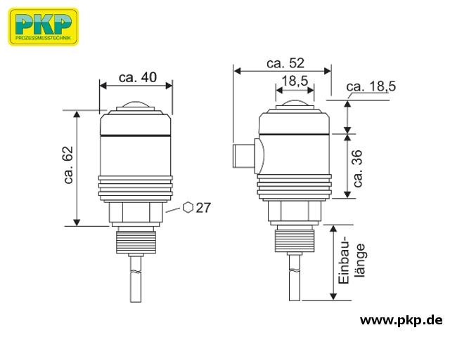 TS20 Elektronischer Temperaturschalter, Abmessungen