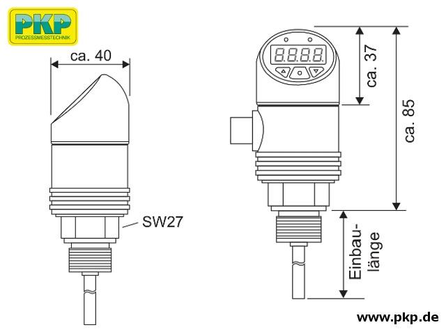TSA20.A Elektronischer Temperatursensor, mit Anzeige, Abmessungen