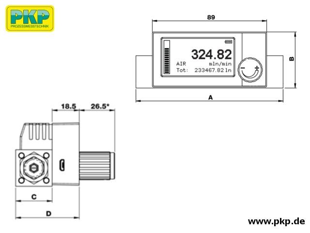 DB04A Thermischer Massedurchflussmesser, Maßzeichnung