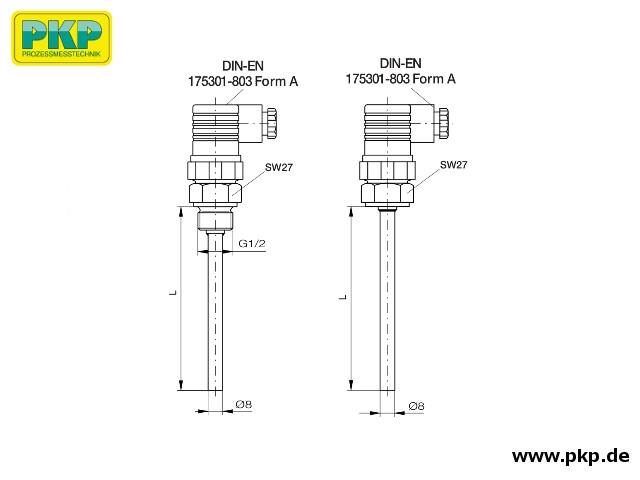 TFK02 Kompakt Widerstandsthermometer, Abmessungen